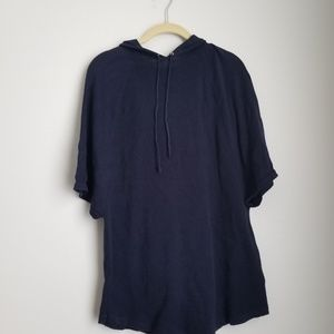 Chaps navy short sleeve hooded pullover